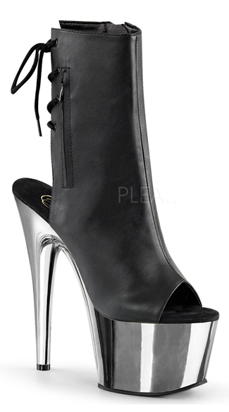 7 Inch Heel Lace Up Peep Toe Bootie - as shown