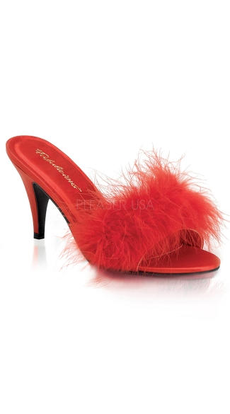 Feathery Marabou Heels - Red