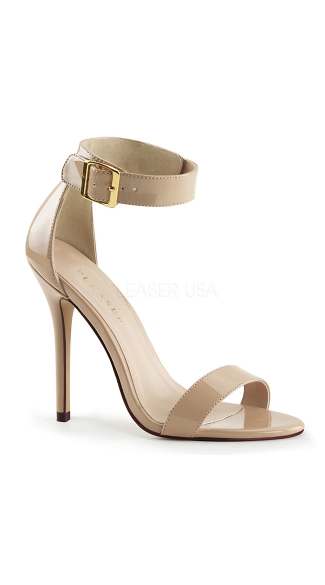 Sexy Evening Stiletto with Ankle Cuff - Cream Patent