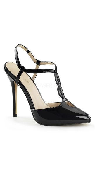 Slingback Patent Pump with Woven T-Strap, Sexy High Heel Shoes, Black Slingback Heels - Yandy.com