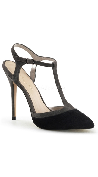 Two Tone Suede T-Strap Pump, T Strap Heel