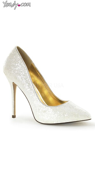 Princess Glitter Pointed Toe Pump - Ivory Glitter