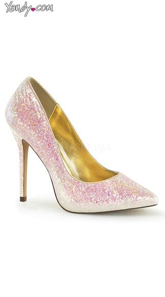 Princess Glitter Pointed Toe Pump - Rose Multi Glitter
