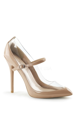 Halfway There Mary Jane Pump - Nude-Clear