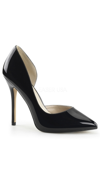 Glossy Pointy Toe Pump With Side Cut Out Black Pumps