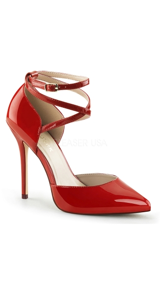 Wrap Me Up Pointy Toe Stiletto Pump - Red Patent