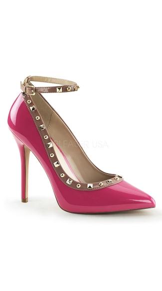 Like A Boss Studded Pumps - Hot Pink-Rose Pat