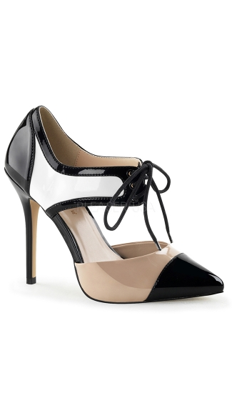 Color Blocked Cut Out Oxford Pump - Black-White-Nude Pat