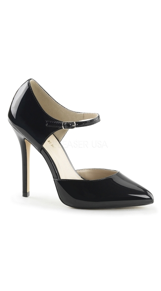Chic Pointy Toe Pump with Ankle Strap, Black Pumps, Strappy Heels