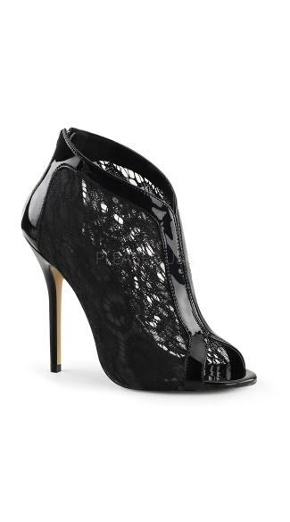 Lacy Open Toe Stiletto Bootie - Black Pat-Lace