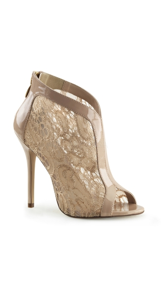Lacy Open Toe Stiletto Bootie - Nude Pat-Lace
