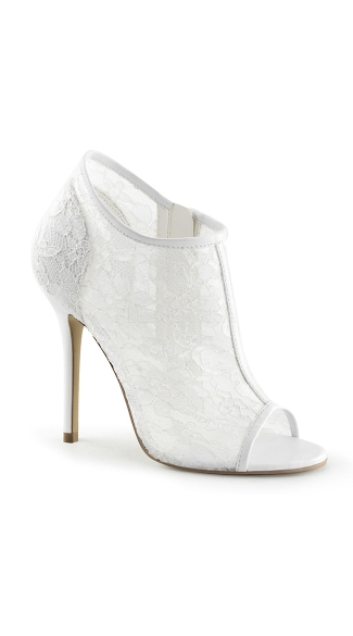 Netted Peep Toe Stiletto Bootie - Ivory Lace-Mesh