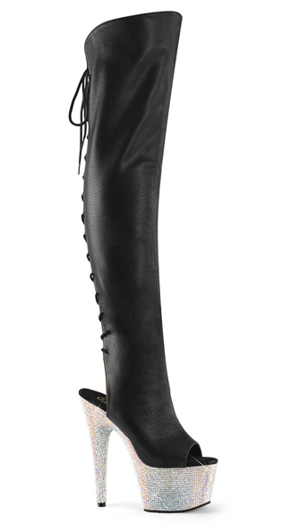 "7"" Faux Leather and Rhinestone Thigh High Boots, Thigh High Boots, Rhinestone Boots - Yandy.com"