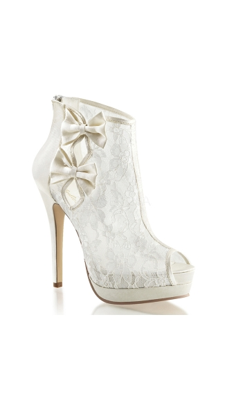 Put A Bow On It Lace Bootie - Ivory Satin-Lace