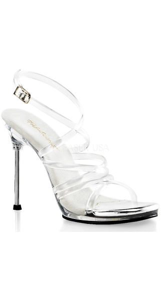 Clear Criss Cross Ankle Strap Sandal - Clear