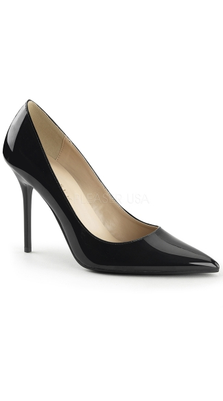 Elongated Classic Pointed Toe Pump - Black Patent