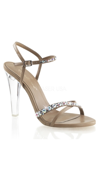 Shine On Strappy Rhinestone Sandal with Clear Heel - Taupe Pu