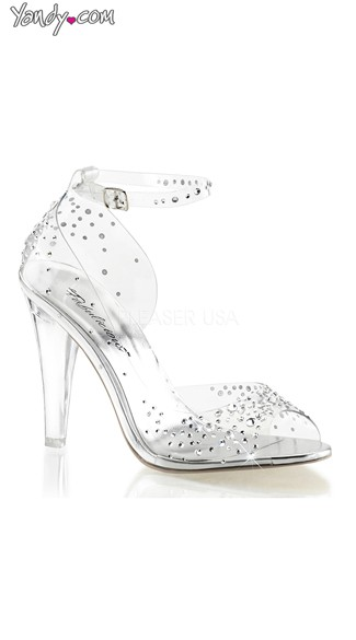 Clear Rhinestone Side Cut Out Pump with Cuff, Clear Pumps, Womens Dress Shoes