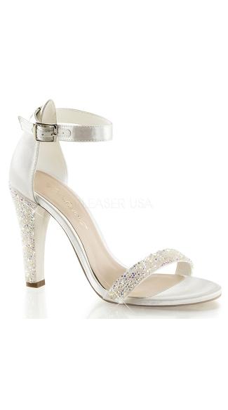 Park Avenue Satin Glitter Evening Sandal - Ivory Satin