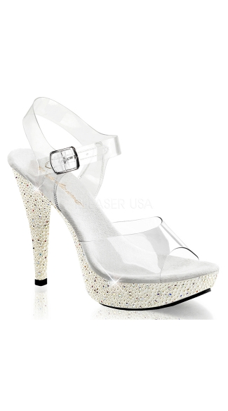 Mother of Pearls Peep Toe Platform Sandal - Clear/Ivory