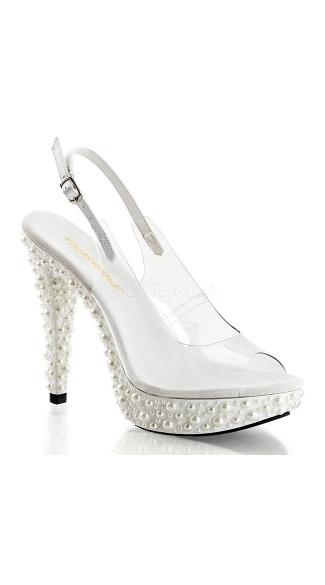 5 Inch Slingback Sandal with Pearl Embellished Platform - Clear