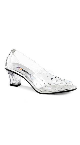 Clear Chunky Kitten Heel with Rhinestones - as shown