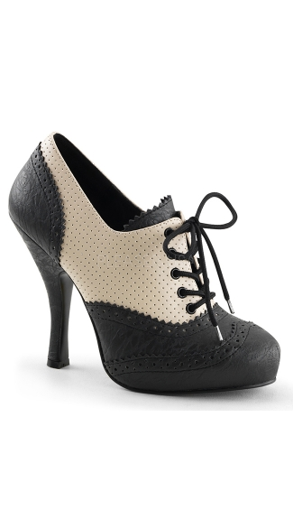 Perforated Lace Up Oxford Bootie - Cream-Black Distressed Pu