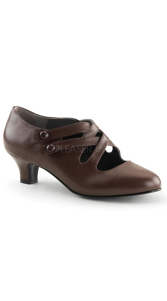 Double Cross Retro Kitten Heel Pump - as shown