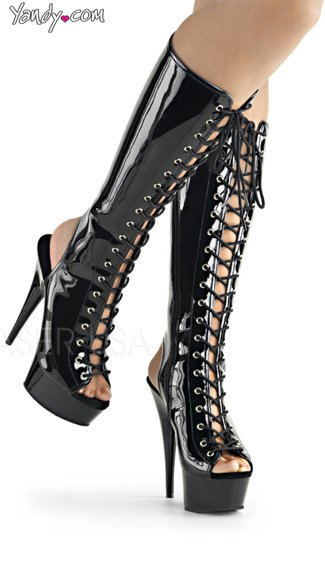 Open Toe Lace-Up Knee High Boot, Platform Boots, Lace-Up Boots - Yandy.com
