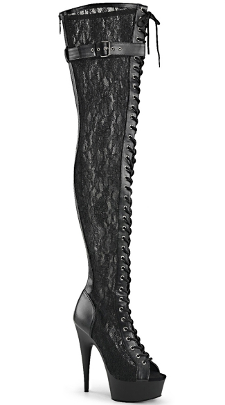 Delight Lace Peep Toe Thigh Boot - Black Pu-Mesh-Lace/Black Matte