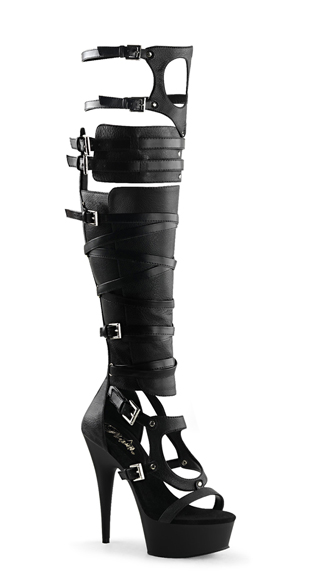 "6"" Strappy Over-The-Knee Sandal Boot, Strappy Sandals, Strappy Boots - Yandy.com"