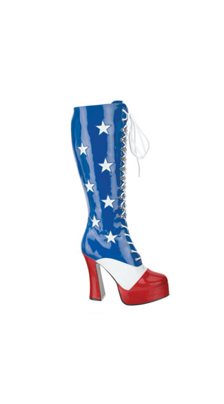 Miss American Rockstar Platform Boot - Blue-White-Red Pat