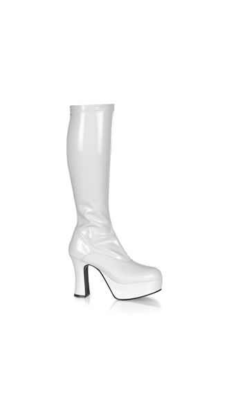 White Stretch Knee High Viper Boot - Stretch White Patent