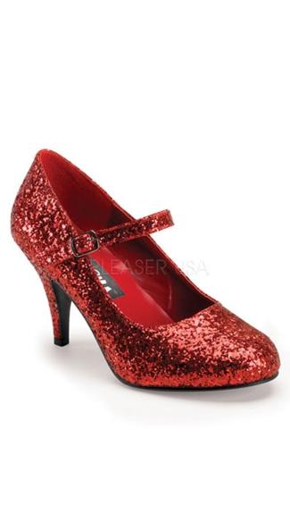 Glinda Glitter Mary Janes - Red Glitter