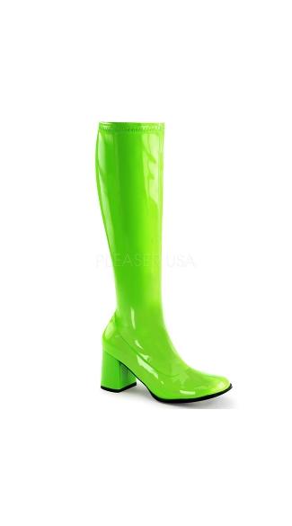 Go Go Dancin' Neon Patent Boot - Neon Green Str Pat