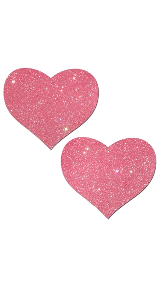 Glitter Bubblegum Pink Heart Pasties - Bubblegum