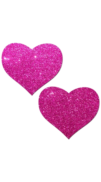 Hot Pink Glittering Heart Pasties - Pink