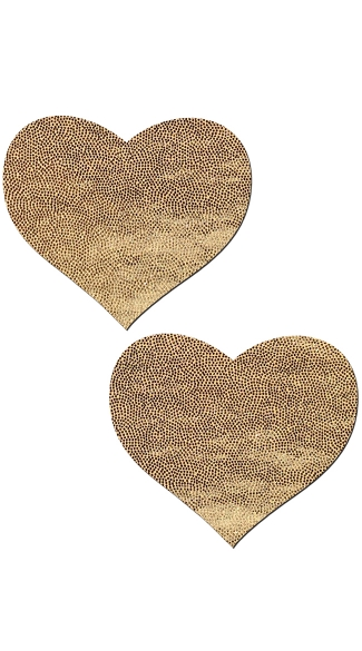 Liquid Gold Heart Pleather Pasties - Gold