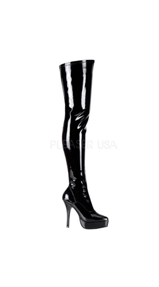 Indulge Thigh High Boots - Stretch Black Patent