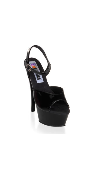 Towering Black Stiletto Sandal with Platform - Black Patent