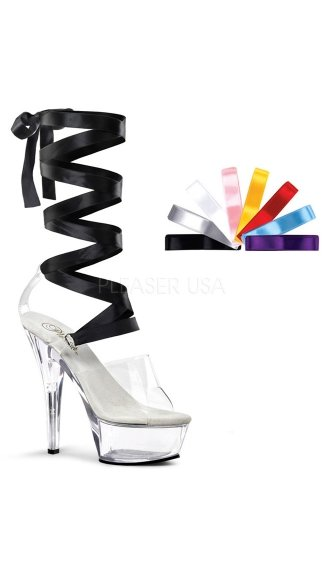 "Interchangeable Lace Up Platform Sandal with 6"" Heel, Ribbon Lace Up Sandal"