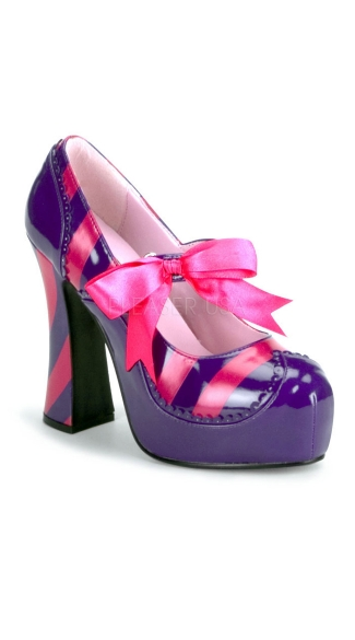 Striped Patent Chunky Heel Shoe - Purple-hot Pink Pat
