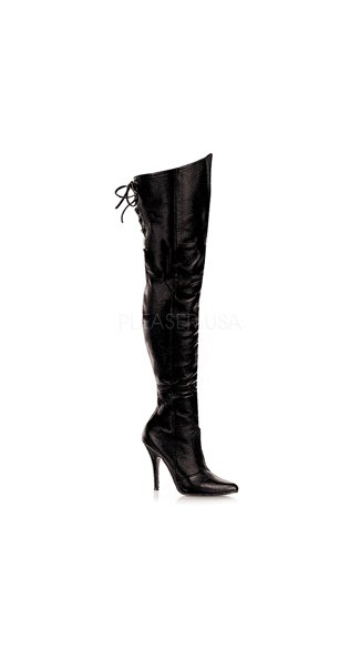 5 Inch Lace Up Thigh High Leather Boot - Black Leather (p)