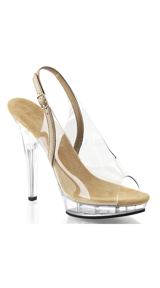 5 Inch Sling Back Sandal - Clear-taupe Pu/Clear