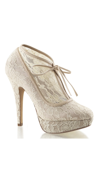 Lacy Lady Satin Platform Bootie - Champagne Lace-Satin