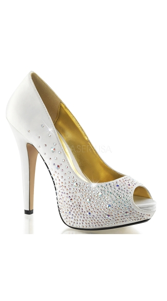Look At Me Satin and Rhinestone Pump - Ivory Silk Satin