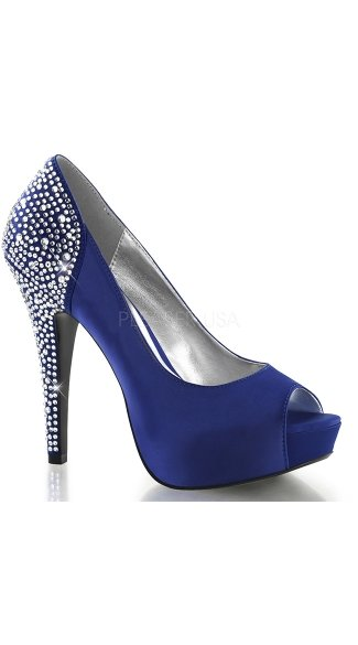 Rhinestone Edge Satin Peep Toe Pump - Royal Blue Silk Satin