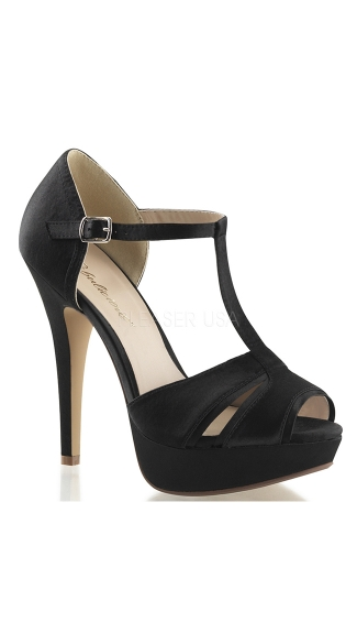 Double Duty Satin T-Strap Sandal - Black Satin