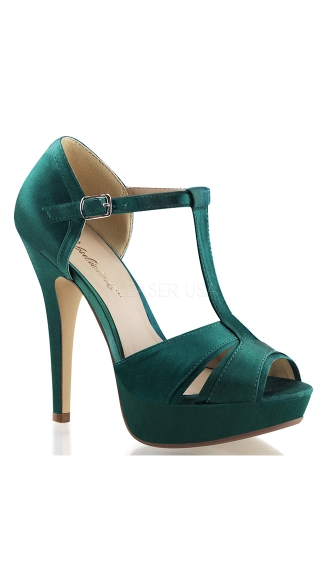 Double Duty Satin T-Strap Sandal - Emerald Green Satin