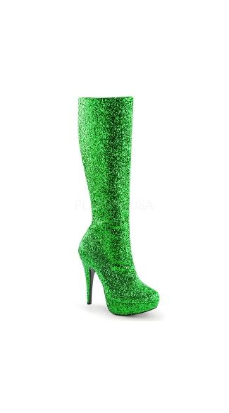 Glittering Nights Knee High Stiletto Boot - Green Glitter
